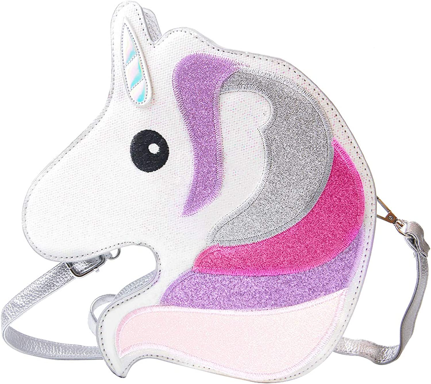 SUKUTU Girls Fancy 3D Glitter Unicorn Purses, New Sparkly Vogue Satchel Novelty Animal Shape Crossbody Bag for women