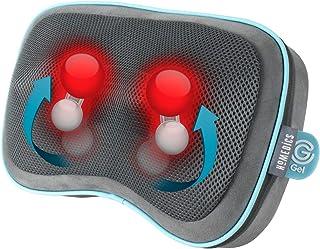 HoMedics Gel Shiatsu 按摩枕 带热量 - 可充电按摩腿部、腰头、肩部和颈部按摩垫,带内置控制装置,包括旅行袋 - 灰色