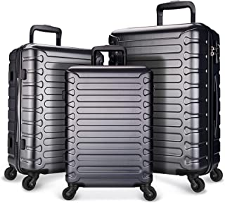 SHOWKOO Luggage Expandable Clearance Suitcases Hardshell Lightweight Durable Spinner Wheels with TSA Lock,Grey,3-Piece Se...