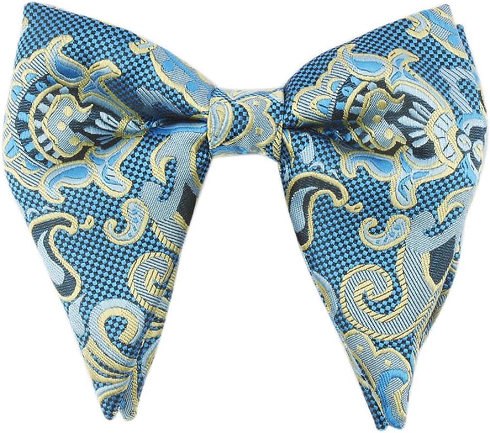 Lovacely Men's Oversized Paisley Bow Tie Retro Woven Jacquard Formal Tuxedo Pre-Tied Big Bowtie