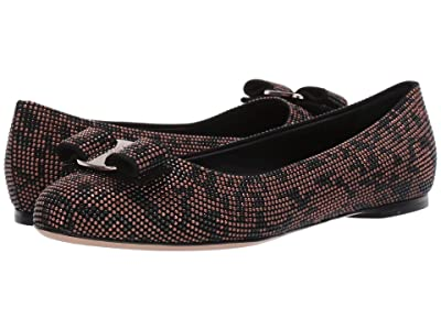 Salvatore Ferragamo Varina Ballet Flat w/ Bow (Black/Brown Leopard) Women