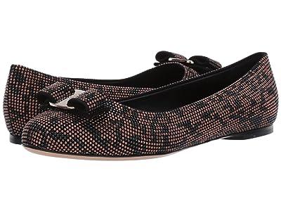 Salvatore Ferragamo Varina Ballet Flat w/ Bow (Black/Brown Leopard) Women