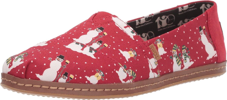 TOMS Alpargata Pompeian Red Cozy Snowmen Leather Wrap