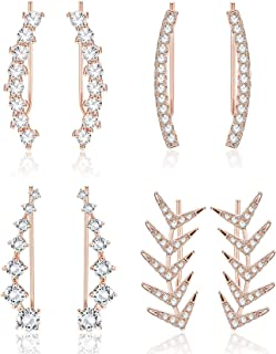 Finrezio 4 Pairs Rose Gold Plated Crystal Climber Earrings for Women Gift Ear Cuffs Hoop Stud Ear Climber Jackets Hypoallergenic
