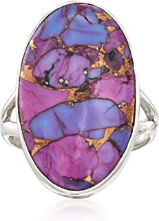 Oval Purple Turquoise Ring in Sterling Silver