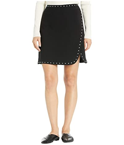 Vince Camuto Bi-Stretch Crepe Studded Mini Skirt (Rich Black) Women