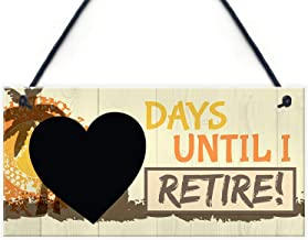 Meijiafei Days Until I Retire Chalkboard Countdown Hanging Plaque Funny Novelty Retirement Gift Sign Grandma Grandad 10