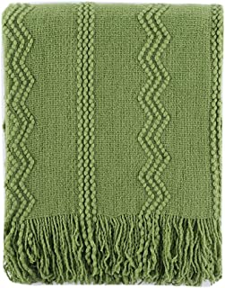 Battilo 100% Acrylic Knit Throw Classic Knitted Throw Blankets for Couch Chair Sofa, 50 x 60 Inch, Soft Warm Lightweight (Green)