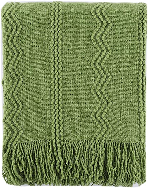 Battilo 100 Acrylic Knit Throw Classic Knitted Throw Blankets For Couch Chair Sofa 50 X 60 Inch Soft Warm Lightweight Green