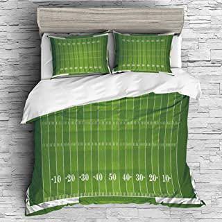 Soft Luxurious 4 Pcs Decorative Quilt Duvet Cover Set Comforter Cover Set(King Size) Football,Sports Field in Green Gridiron Yard Competitive Games College Teamwork Superbowl,Green Wh
