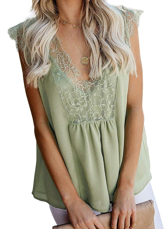 Sidefeel Women Crochet Lace Basic Tank Top Sleeveless Loose Fitting Tunic