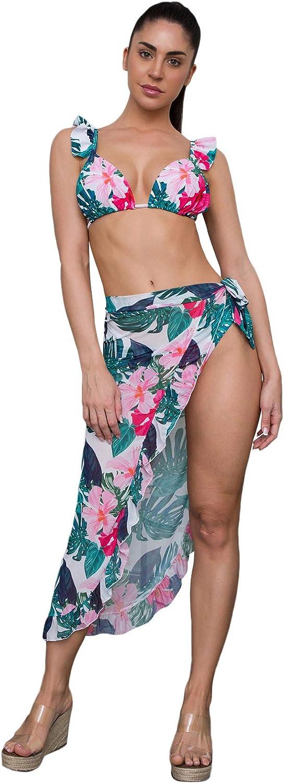 SweatyRocks Women's 3 Pieces Beach Swimsuit Tropical Ruffle Triangle Bikini Swimsuit with Cover Up Wrap Skirt
