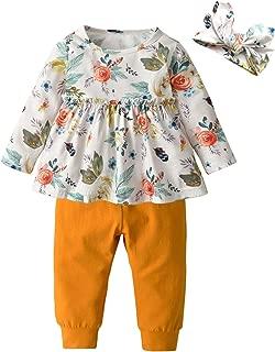 3PCS Baby Girl Clothes Ruffle Floral Shirt Tops Pants Headband Outfit Sets