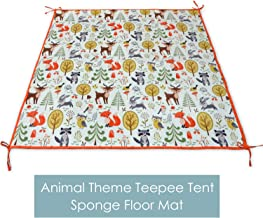 MAMMA Kiddie Sponge Play Mat for Kids Teepee Tent, Floor Mat for Kids Indian Tipi Play Tent with Soft Velvet Touch Surface and Non-Slip Silicone Dots, Safe Play Area (Animal Play Mat)