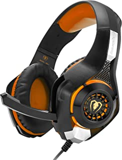 Noise-cancelling gaming headset, 3.5mm surround sound, headset with volume control and mute control, for PS4 PC Xbox One (S/X) laptop Mac-orange MXY (Color : Orange)