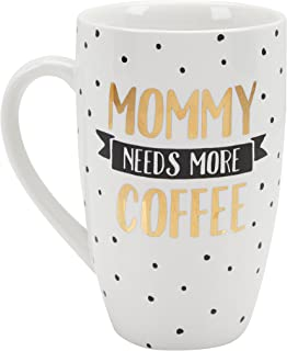 Pearhead Mommy Needs More Coffee Large Ceramic Coffee Mug, Great Gift for a New Mom, Busy Mom Gift, White