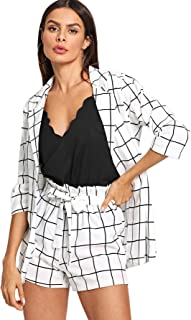 3cdb7f5b6a SheIn Women's 2 Pieces Plaid Thin 3/4 Sleeve Blazers and Self Tie Waist  Shorts