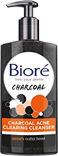 Biore Charcoal Acne Clearing Facial Cleanser with 1% Salicylic Acid and Natural Charcoal Helps Prevent Breakouts and Absor...