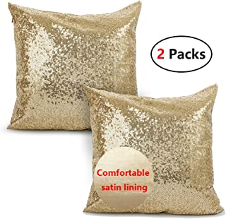 iMucci Sparkling Taffeta Sequins 18 inch Satin Pillow Covers - Pillowcases with Bling Paillette for New Year with Hidden Zipper Gold