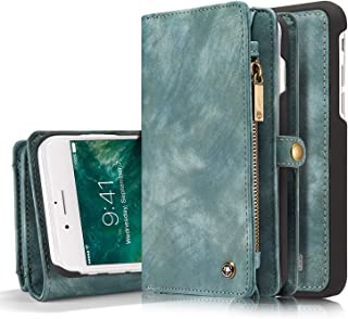 FLY HAWK iPhone 7 Plus Leather Wallet Magnetic Phone Case Detachable Protective Case with Card Holder Folio Flip Cover, Blue