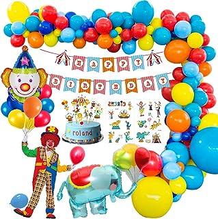 MMTX Carnaval Circo Decoración Fiesta cumpleaños Niño, Feliz cumpleaños Decoraciones Niña con Happy Birthday Banderas, Elefante Payaso Globo para Circo Parque de Atracciones cumpleaños