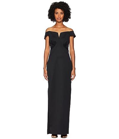 Zac Posen Bondage Jersey Off the Shoulder Gown (Black) Women