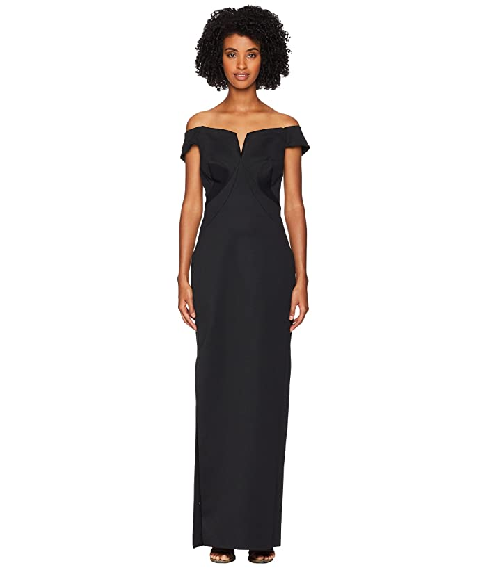 Zac Posen Bondage Jersey Off the Shoulder Gown (Black) Women's Dress