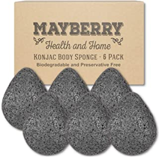 Konjac Facial Sponge (6 Pack) Individually Wrapped Bamboo Charcoal (Black) Konjac Drop Shape Sponges Offer a Gentle Cleansing Experience for Softer Skin