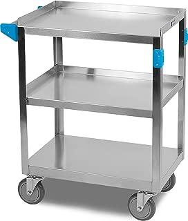 Carlisle UC3031524 3 Shelf Stainless Steel Utility/Service Cart, 300 Pound Capacity, Small