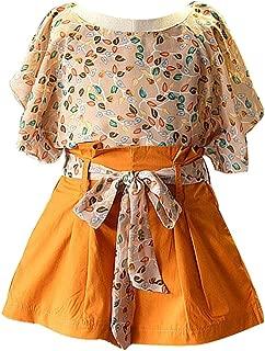Perimedes - Conjunto de Dos Piezas de Ropa para niñas y niños, diseño Floral de Gasa, Playera de Manga Corta, Pantalones Cortos