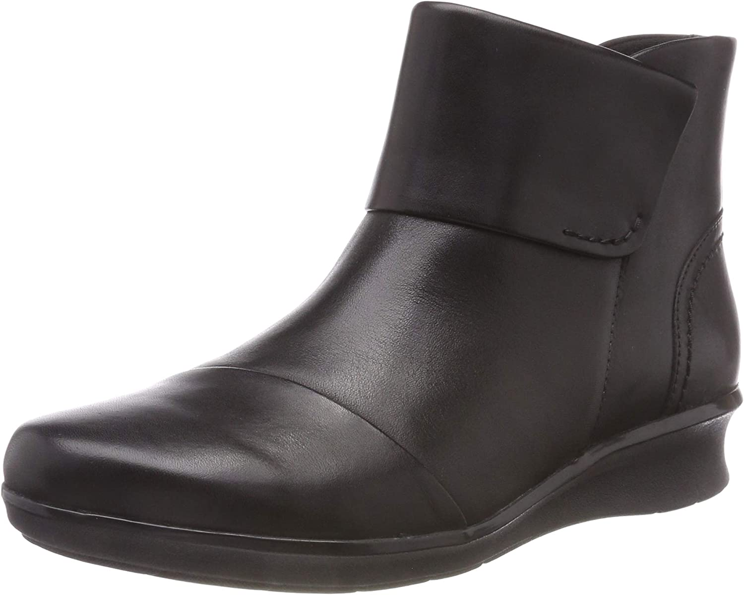 Clarks Women's Hope Track Black Leather Wedge Ankle Boots