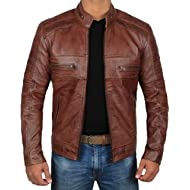 Brown Leather Jacket Mens - Cafe... Brown Leather Jacket Mens - Cafe Racer Real Lambskin Leather Distressed Motorcycle Jacket