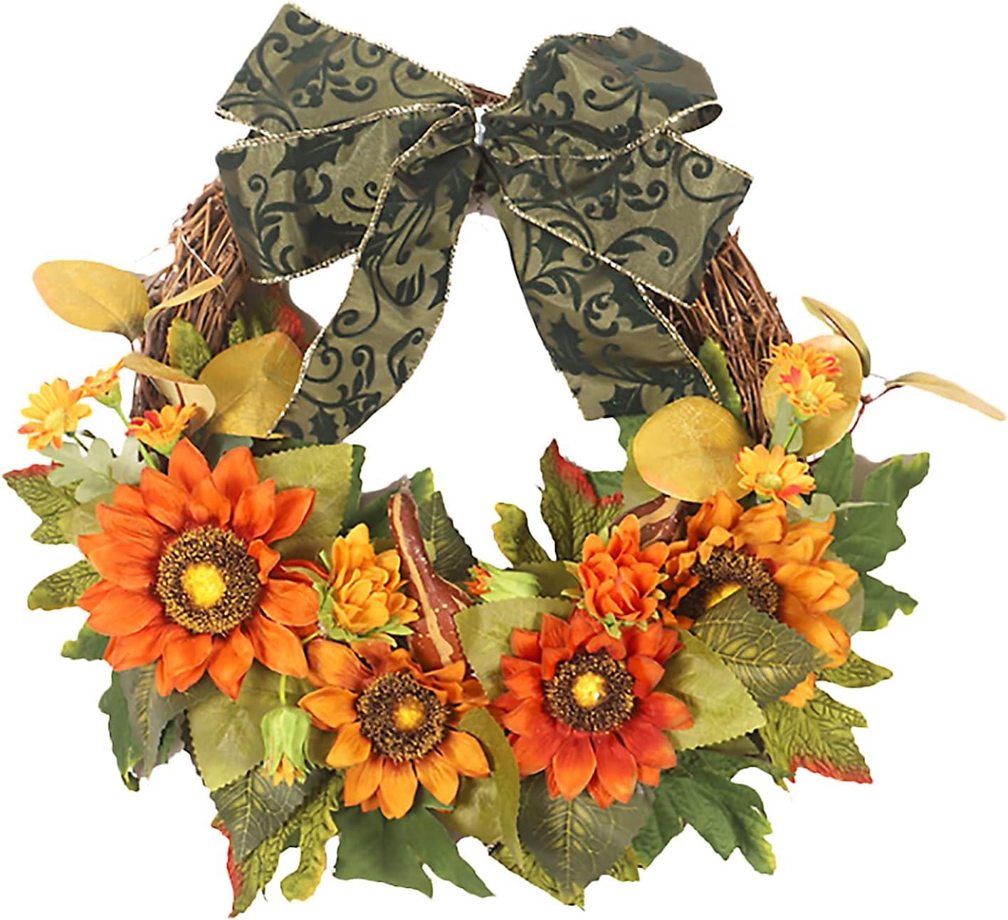 BOICXM Artificial Sunflower Max 55% OFF Max 45% OFF Wreaths,15.7Inch Rattan