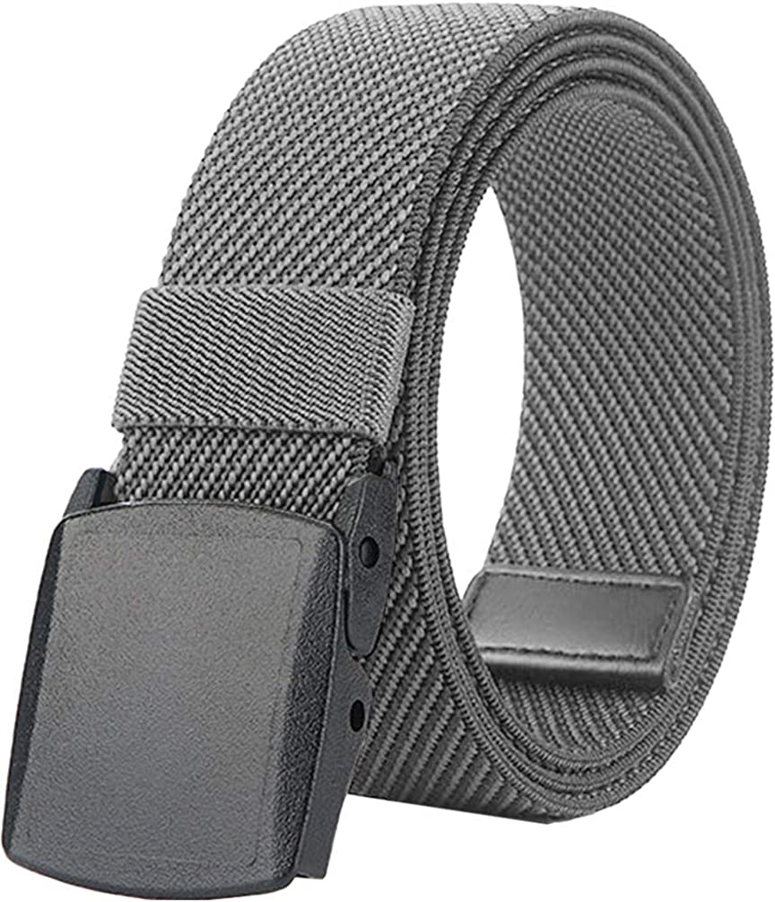 Elastic Stretch Belts for Men and Women with No Metal Plastic Buckle for Work and Travel