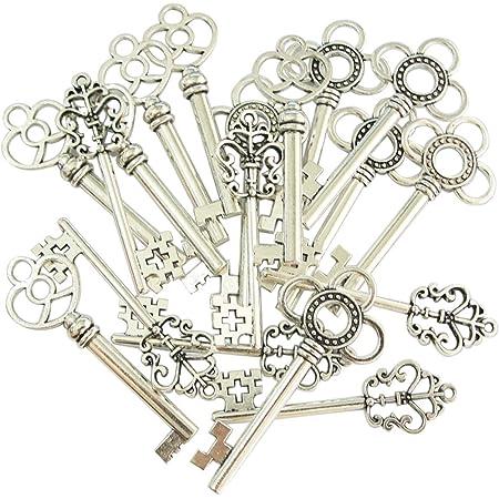 Set di 30 ciondoli a forma di chiave passe-partout vintage, aspetto anticato,color argento, motivi assortiti (cuore, fiocco)