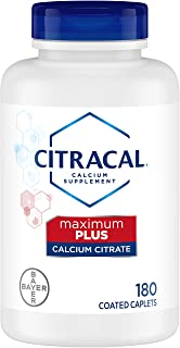 Citracal Maximum, Highly Soluble, Easily Digested, 650 mg Calcium Citrate with 1000 IU Vitamin D3, Bone Health Supplement for Adults, Caplets, 180 Count