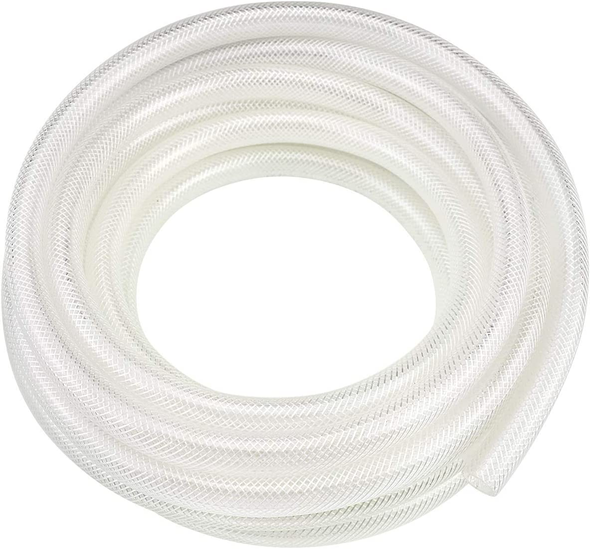"3/4"" ID x 10 Ft High Pressure Braided Clear PVC Vinyl Tubing Flexible Vinyl Tube, Heavy Duty Reinforced Vinyl Hose Tubing, BPA Free and Non Toxic"