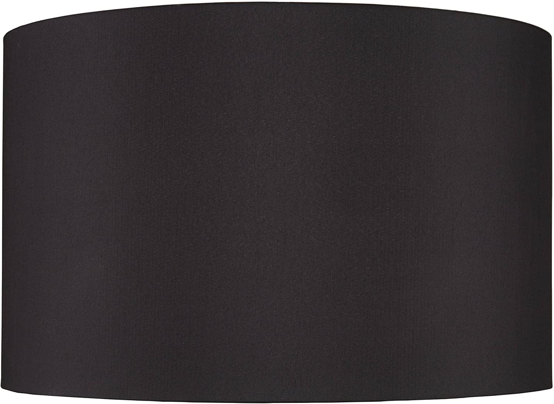 Black Cheap Faux Silk Large Drum Lamp 12