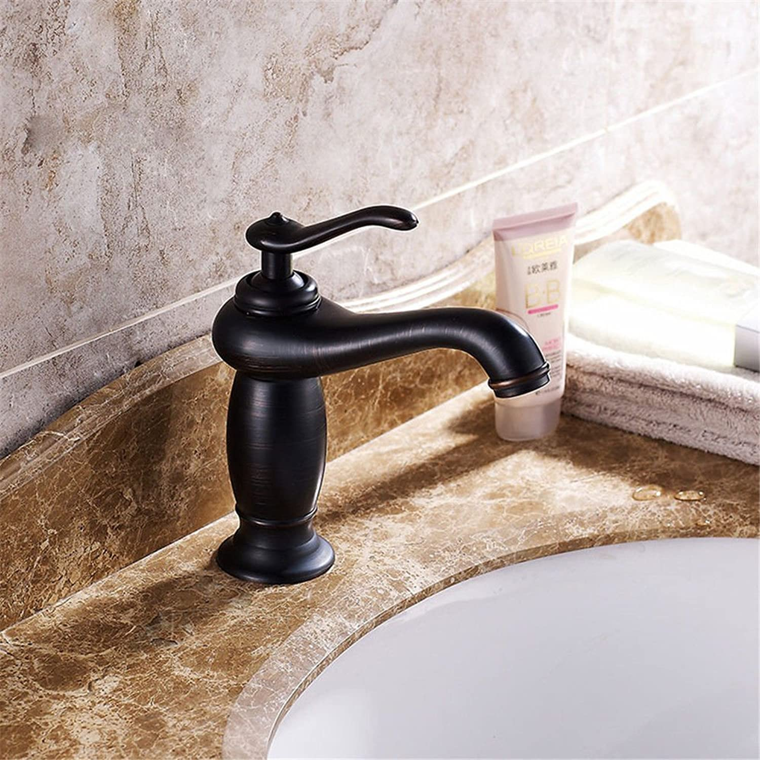 Fbict European Antique Basin Hot and Cold Water Faucet Copper Black Bronze Faucet for Kitchen Bathroom Faucet Bid Tap