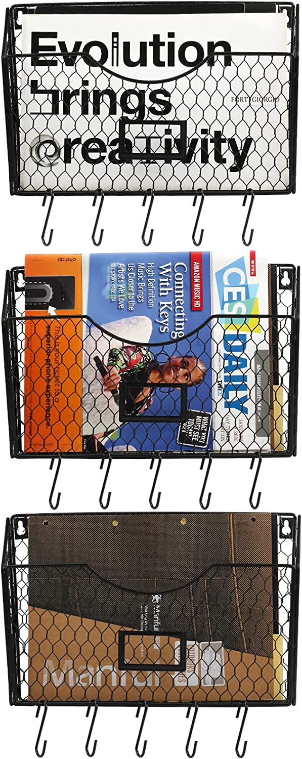 Special Campaign Hanging Wall File Organizer 3 Tier At the price Chick Durable Mount Vertical