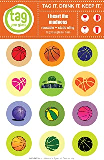 Basketball (2 pack) - Champagne, Beer & Wine Glass Charms that use static cling. Unique, reusable, attractive drink markers that serve a purpose. Trendy party gift for women & men who have everything!