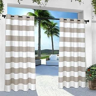 Exclusive Home Curtains Indoor/Outdoor Stripe Cabana Grommet Top Curtain Panel Pair, 54x96, Cloud Grey, 2 Piece