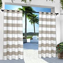 Exclusive Home Curtains Indoor/Outdoor Stripe Cabana Window Curtain Panel Pair with Grommet Top, 54x96, Cloud Grey, 2 Piece