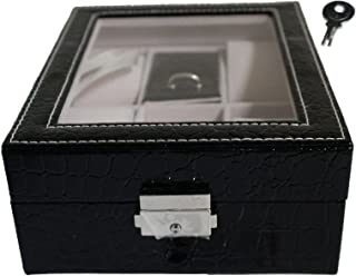 Focuseparts FOCUS EPARTS174; 4 Slot 5 Rings Black Crocodile Leather Jewelry Box for Watch Ring Glass Top Display