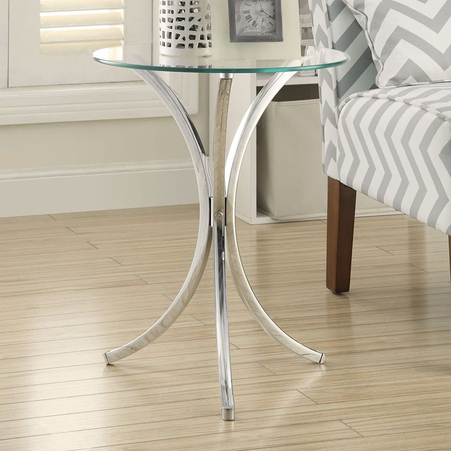 EHomeProducts Glass Top Chrome Base Round Side End Table