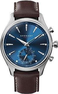 CELLYS - Montre Hybride Kronaby SEKEL bracelet cuir marron foncé - cadran bleu 41 mm
