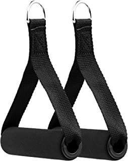VIDELLY 2 Pieces Exercise Handles Cable Machine Attachments Resistance Bands Handles Grips Fitness Strap Stirrup Handle Ca...