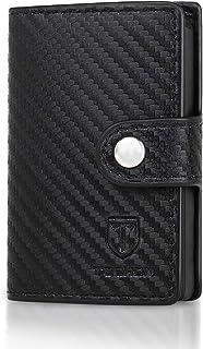 TEEHON® Portafoglio Uomo Carte Di Credito Pelle Fibra Di Carbonio, 1 Hand-Push Porta Carte, 2 Fessure Per Carte, 1 Tasca P...