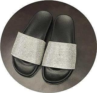 Women Flat Sliders Sandals Diamante Sparkly Colorful Diamond Crystal Fashion Shoes Woman flip-Flops