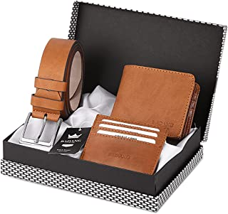 Badang Classic Leather Mat Wallet, Belt, Credit Card Holder Gift Accessory Set, Card Holder and Belt Set (maximum 9 cards)...